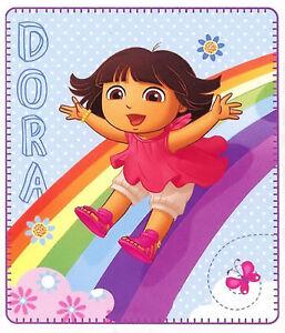 Dora the Explorer Blanket Polar Fleece Kids Girls Bedding Rainbow Balloon New