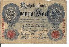 GERMANY, 20 MARK, P#40b, 1910