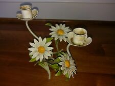 Vtg Toleware Candlestick Candle Holder Daisy Flower Italian Tole Metal Yellow