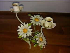 Vintage Toleware Candlestick Candle Holder Daisy Flower Italian Metal Yellow