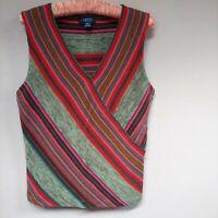 CHAPS Womens Linen Cotton Blend Striped Sleeveless Blouse Top V-Neck Size Large