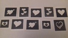 30 x heart theme mini stencils for etching glass hobby gift etch Valentine love