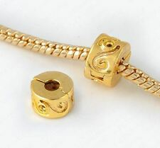 YELLOW GOLD PLATED SCROLL CLIP STOPPER CHARM BEAD FOR BRACELET OR NECKLACE