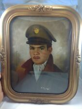 """WWII Hand Painted US ARMY Air Corp Pilot in 14"""" X 17"""" Convex/Bubble Frame"""