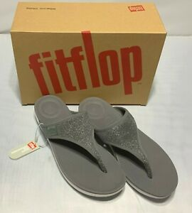 FitFlop Flip Women Uberknit Toe Thong Sandals Charcoal Gray Pewter  8 11 NIB