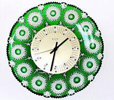 "Wanduhr Bleikristall "" Junghans "" 1970er NEUwertig seltene Farbe Grün Sterne"