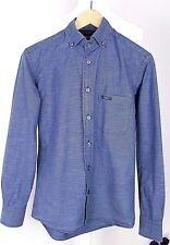 Sacoor Brothers Slim Fit Blue Button Down Micro Stripe SMALL Shirt S Youth