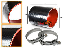 """BLACK Silicone Coupler Hose 2.5"""" 63 mm + T-Bolt Clamps Air Intake Intercooler TY"""