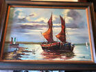 """Original Mary Botto Maritime Sailing Ship Signed Oil Painting 43"""" x 31"""" MCM"""