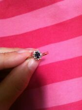 10K Yellow Gold Ring Blue Sapphire with diamonds size 6.75 Very cute September