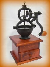 Cast Iron and Wooden Coffee Grinder mill Side Hand Cranked - ANTIQUE STYLE BROWN