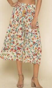 Anthropologie RAGA My Paradise crop wide leg floral pant XS NEW