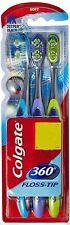 2X Colgate 360 Toothbrush Floss-tip Gentle Clean Teeth tongue Gum cheek 3 PCS AU