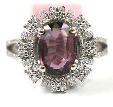 Oval Purple Spinel Gemstone Lady's Ring w/Diamond Halo 14k White Gold 3.38Ct