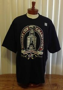 Colorado Avalanche NWT 2001 Stanley Cup Champions T Shirt Black Lee Sport 2XL