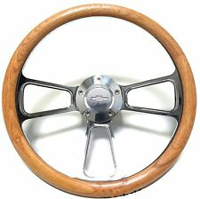 Oak Steering Wheel  for 1974 to 1994 Chevy C/K  Trucks Chevy Horn + Adapter Kit