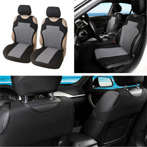 2pcs Set of Car Seat Cover Car Protector Car Seat Decoration Gray T-shirt Style
