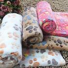 New Warm Pet Mat Small Large Paw Print Cat Dog Puppy Fleece Soft Blanket Cushion