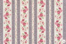 coupon de tissu patchwork shabby Mary rose bouquets et rayures mauve 45x55cm