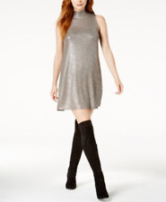 Kensie Party Dress Small Silver Shimmer Metallic Mock Neck Mini NEW $79