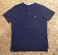 Men's Rare Designer Valentino Henley Two Buttom Logo T-Shirt, Blue, Size Medium