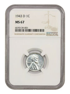 1943-D 1c NGC MS67 - WW2 Steel Cent - Lincoln Cent - WW2 Steel Cent