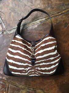 Gucci pony hair zebra print medium jackie o bouvier hobo brown