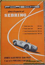 Rare Significant 1955 Factory Porsche 550 Sebring Poster 356 Original Free Ship