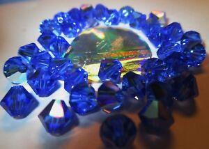 20 Swarovski Perlen 6 mmØ Sappire-AB, AuroreBor. # 5301-206-AB