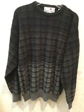 Men's Sweater - Gray/Black Stripes - Long Sleeve - Size M - Florence Tricot
