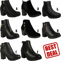 LADIES PLATFORM BOOTS WOMENS MID HIGH BLOCK HEEL CHELSEA ANKLE SHOES SIZE 3-8