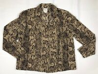 Bentley Women's Sz Large Snakeskin Brown Long Sleeve Button Front Top