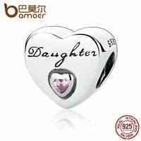 Bamoer Authentic S925 Sterling Silver Charm Pink CZ Daughter's Love Fit Bracelet