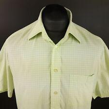 Daniel Hechter Mens Shirt 41 (LARGE) Short Sleeve Green Regular Fit Check Cotton