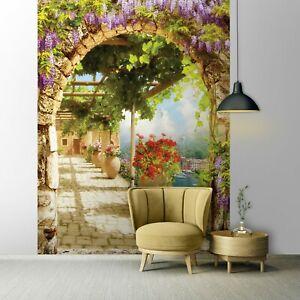 Vlies Fototapete GASSE 3D EFFEKT Garten Toskana Blumen Landschaft Italienische