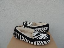 UGG ANSLEY EXOTIC ZEBRA CALF HAIR SHEEPSKIN MOCCASIN SLIPPERS US 10/ EUR 41 ~NIB