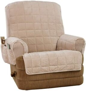 Sure Fit Silky Touch Non-Slip Recliner Furniture  CREAM TAUPE
