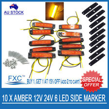 10 X 12V SUPERFLUX LED AMBER MARKER/CLEARANCE LIGHT - Boat/Trailer/Truck/Caravan