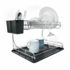 DISH RACK DRAINER HOLDER SINK DRYING WITH BLACK DRIP TRAY CUTLERY 2 TIER CHROME