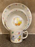 "Vintage Sesame Street Porcelain Plate Bowl Mug Set ""Flying A Kite"" By Newcor"