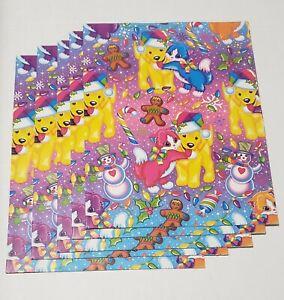 "NOS Lot 5 Lisa Frank Puppy Kitten Christmas Gift Wrap Fold Sheet Paper 22"" x 33"""