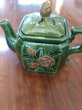 Beautiful Vintage Green and Gold Square Collectable Teapot Rare Design