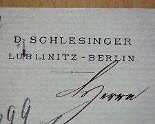 LUBLINITZ 1893, D. SCHLESINGER, Litho Rechnung Autograph an Landfried RAUENBERG