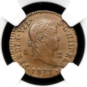 SPAIN. Ferdinand VII, 2 Maravedis, 1827, Segovia, NGC AU58 BN