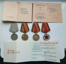 SOVIET USSR SET MEDALS AND DOCUMENTS MILITARY MERIT, SILVER