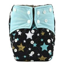 Baby Cloth Diaper Nappy Cover Bamboo Charcoal Reusable Gussets Stars Twinkly