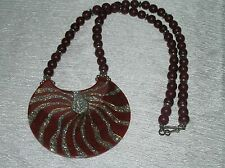 Estate Cranberry Red w SIlvertone Spacer Bead & Large Plastic Resin Sparkly