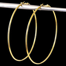 Women Elegant Round Big Circle Large Ring Hoop Earrings Gold Plated Jewelry Gift
