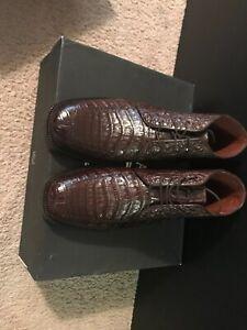 Los Altos Genuine Caimam Crocodile Brown Ankle Boot Men's Size 11 US