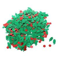15g Holly Leaf + Berries Red Green Christmas Table Party NEW Decor Confetti B1I3